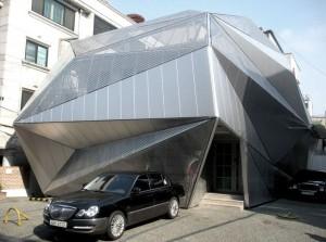 Geometric silver construction in Seoul.