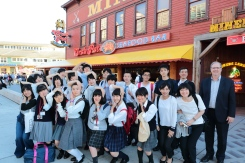 York students after the farewell dinner at the Crab Pot