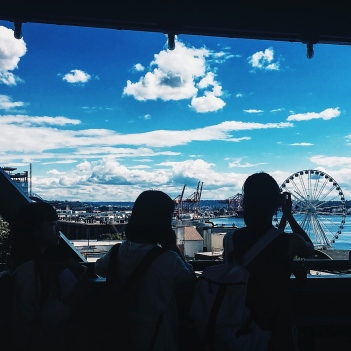 Students enjoy the view from Pike Place Market